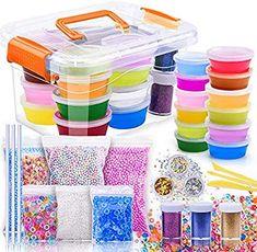 MOOHAM DIY Slime Kit Supplies - Clear Crystal Slime Making Kit for Girls, Floam Slime for Kids, Slime Foam Beads, Glitter , Fruit Slices and Fishbowl Beads Included Foam Slime, Slime Kit, Diy Slime, Makeup Kit For Kids, Kids Makeup, Crafts For Girls, Toys For Girls, Kids Toys, Barbie Bedroom