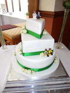 Geometric shapes wedding cake with Lego figures  find me on Facebook Victoria's Sponge (chesterfield)