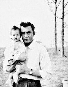 Johnny Cash and daughter Roseanne Cash, 1956.