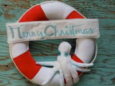 Nautical Life Ring. Christmas. Wreath with Octopus. Everyday Use or Merry Christmas Wreath. Beach Decor for Coastal Living by searchnrescue2...