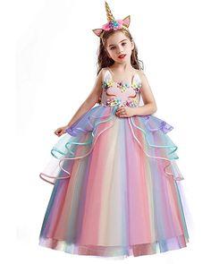 Red Flower Girl Dresses, Little Girl Dresses, Pink Dress, Girls Dresses, Flower Girls, Princess Dress Kids, Disney Princess Dresses, Princess Girl, Girl Unicorn Costume