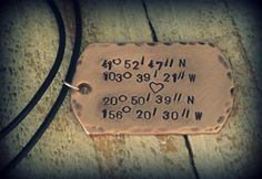 Latitude and Longitude // Men's Hand Stamped by twoturtledovesshop,