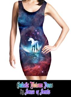 someone hacked my brain and made this: Galactic Unicorn mystical nebula galaxy stars custom printed fabric dress (LIMITED EDITION). $70,00, via Etsy.