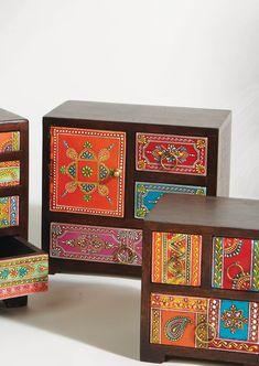Hand painted wood 3 drawer, 1 door chest | namaste-uk ♥•♥•♥