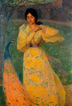 'Young Girl with Peacock' - Edmond Aman-Jean  (1858-1936)