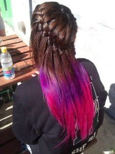 Kind wanted to do this, with a dark brown on top, with a burghandy that fades to magenta.