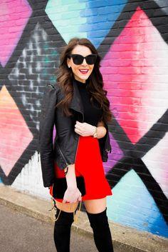 Valentine's Day skirt - red mini skirt - quay cat eye sunglasses - quay black sunglasses - quay nordstrom