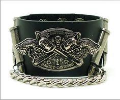 Leather bracelets pirate skull rivet punk event handmade bracelets   Tophandmade - Jewelry on ArtFire
