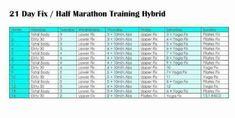 Fit Fierce Fight: 21 Day Fix and Extreme Full and Half Marathon Training Plans Half Marathon Training Schedule, Running Training Plan, Running Schedule, Training Day, Workout Schedule, Marathon Running, Marathon Gear, Workout Ideas, 21 Day Fix Workouts