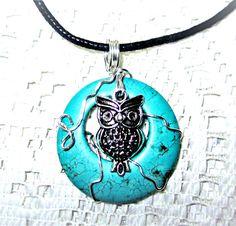 Owl Pendant Owl Totem Spirit Necklace Turquoise Necklace