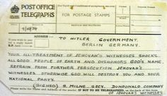 This telegram from Ireland was among 20,000 letters and telegrams sent to Hitler by Jehovah's Witnesses in 50 countries, including Germany, protesting his treatment of Jehovah's Witnesses. #stopJWBan