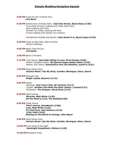 reception program sample agenda - Google Search