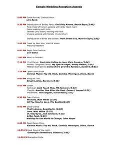 Wedding Reception Program Sample Templates | Sample Wedding Reception Agenda - PDF