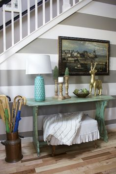 Gray And White Striped Entry Wall Entry Console Table The Inspired