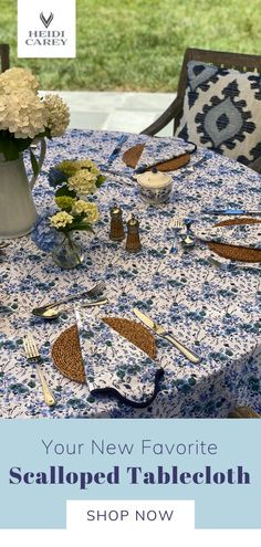 Elevate any table with my scalloped tablecloth. The blue floral pattern is a custom block print, and elegantly accented by navy scalloping. This beautiful tablecloth is 100% cotton and machine washable. This set makes a wonderful gift for any occasion. #tablecloth #cotton #handmade #heidicarey Floral Tablecloth, Table Setting Inspiration, Beautiful Table Settings, Cotton Napkins, Elegant Table, Inspirational Gifts, Creative Gifts, Small Gifts