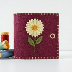 Handmade Wool Felt Needle Book / Sewing Needle Case - Buttercup Yellow Daisy on Victorian Rose by TheBlueDaisy