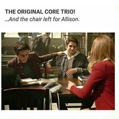 Most folks saw the basic symbolism when the three remaining original characters, Scott McCall, Stiles Stilinski and Lydia Martin, took seats around a table in the Beacon Hills High School library. They claim Allison's chair moved as if someone pulled it out, sat down and then pulled closer to the table. R.I.P. Allison Argent. March 17th  It's been two years since Allison died.