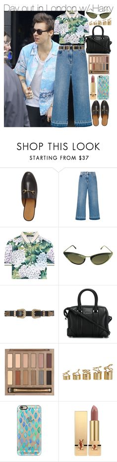"""""""Day out in London w/ Harry"""" by your-fashion-lover ❤ liked on Polyvore featuring Gucci, MSGM, Dolce&Gabbana, Tom Ford, B-Low the Belt, Givenchy, Urban Decay, Balenciaga, Casetify and Yves Saint Laurent"""