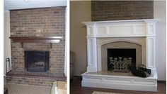 remodeled fireplaces before and after | Orland Fireplace Mantel and Hearth Remodel | Before and After. Love ...