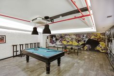 Male dormitory game park interior design with table tennis, pool, pinball and dart  #rendahelindesign #design  #decor #decoration #interior #interiordesign #konforist #dorm #male #gamepark #hobby #time