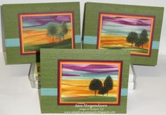 In Colors with Lovely as a Tree, Background made using direct to paper technique with the new In Colors.  Stamp Set: Lovely as a Tree Card Stock: Mossy Meadow, Blackberry Bliss, Tangelo Twist, Hello Honey, Lost Lagoon  Very Vanilla Classic Stampin' Pads: Mossy Meadow, Blackberry Bliss, Tangelo Twist, Hello Honey  Lost Lagoon Embossing Folders: Argyle  Pretty Print Sponges