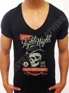 MENS BLACK DEEP V NECK T-SHIRT FASHION TOP FIGHT CLUB SKULL BOXING MMA T SHIRT | eBay