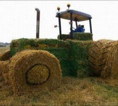 round and square hay bale tractor
