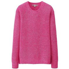 UNIQLO Middle Gauge Crew Neck Sweater ($13) ❤ liked on Polyvore featuring tops, sweaters, pink top, crew-neck sweaters, pink crew neck sweater, pink sweater and crewneck sweater