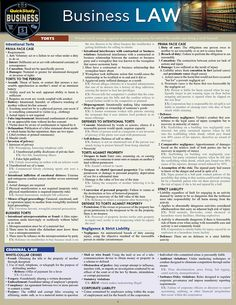 Business Law Laminated Study Guide - BarCharts Publishing Inc makers of QuickStudy Law Notes, Corporate Law, Harvard Business School, Business Major, Legal Business, Export Business, Business Money, Business Marketing, Harvard Law