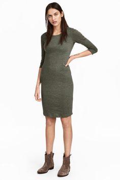 Robe en jersey - Vert kaki chiné - FEMME | H&M FR 1