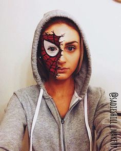 Make Up - DIY Halloween Makeup Looks # Halloween # Halloween-Kostüm . Male Makeup, Sfx Makeup, Costume Makeup, Makeup Art, Makeup Ideas, Makeup Tips, Spiderman Makeup, Superhero Makeup, Spiderman Costume