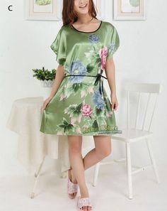 200505107f Short Sleeve Floral Sexy Plus Size Women Silk Robe Lady Girl Silk Pajamas  Housecoat Nightgowns Loungewear
