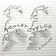 pencil drawings - 4 Coast Styles for Mapmaking Fantastic Maps Fantasy Map Making, Fantasy World Map, Drawing Techniques, Drawing Tips, Drawing Reference, Rpg Map, Coast Style, Dungeon Maps, Map Design
