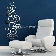 Silver Tone Acrylic 3D Mirror Effect Wall Sticker Circle Mural Art Home Decor EqSd