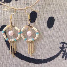 竹ビーズフリンジピアス レディースファッションのアクセサリー(ピアス)