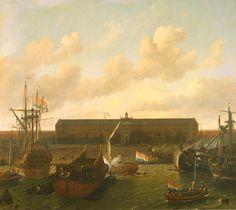 Het dok van de Verenigde Oost-Indische Compagnie in Amsterdam