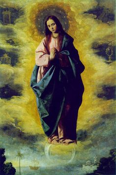 Portrait of the Virgin Mary titled The Immaculate Conception. Painted in 1630 by Spanish artist Francisco de Zurbaran. At a museum in Madrid, Spain.