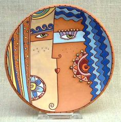 by Natalya Sots on Live Journal photo site. Ceramic Clay, Ceramic Painting, Ceramic Plates, Pottery Plates, Ceramic Pottery, Keramik Design, Clay Wall Art, Pottery Painting Designs, Keramik Vase