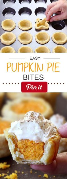 Easy Pumpkin Pie Bites - All the flavors of Homemade Pumpkin Pie packed into perfect portable fall dessert - Easy Pumpkin Pie Bites.  Ingredients  Produce  1 cup Pumpkin puree  Refrigerated  2 Eggs  1 egg  Baking & Spices  1 tsp Pumpkin pie spice   cup Sugar  1 tsp Vanilla  1 Whipped cream  Dairy  1 (8oz) package Cream cheese  Other  Homemade All Butter Pie Crust or 2 pre-made ready to roll pie crusts #delicious #diy #Easy #food #love #recipe #recipes #tutorial #yummy @mabarto - Make sure…