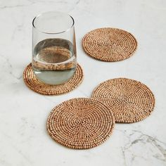 Wood Beaded Coaster Set