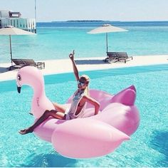 Oh my gosh it's a giant flamingo for the pool! Want
