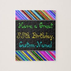 Fun Colorful Whimsical 55th Birthday Puzzle  $16.95  by AponxDesigns  - custom gift idea