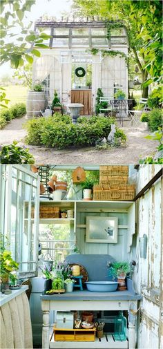 http://www.apieceofrainbow.com/diy-sheds-reclaimed-windows/12 amazing DIY sheds and greenhouses: how to create beautiful backyard offices, studios and garden rooms with reclaimed windows and other materials.