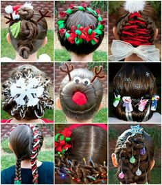Christmas Hair Styles There are several inspirations once it involves teen aged coiffure for holiday. Since each lady want to appear totally different on the Christmas season. Little Girl Hairstyles, Up Hairstyles, Pretty Hairstyles, Hairstyle Ideas, Toddler Hairstyles, Beautiful Haircuts, Creative Hairstyles, Natural Hairstyles, Straight Hairstyles