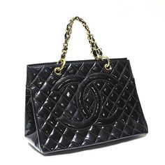 CHANEL Auth Handbag Matelasse Enamel Black Ladies Free Ship Excellent #7670 #CHANEL #TotesShoppers