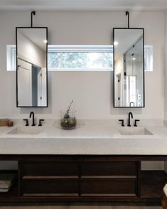 Some challenges create awesome design opportunities. This homeowner wanted to remove the window, we convinced him to leave it and designed… Open Bathroom, Bathroom Windows, Master Bathroom, Window Over Sink, Window Mirror, Mirror Vanity, Bad Inspiration, Bathroom Inspiration, Cloakroom Sink