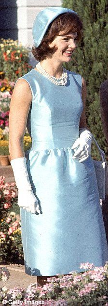 The original: Jackie Kennedy wearing a similar blue outfit in 1962