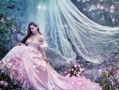 Romantic by AngeliaArt on deviantART Beautiful Chinese Girl, Simply Beautiful, Colored Wedding Dresses, Wedding Colors, Pure Beauty, Beautiful Dresses, Ball Gowns, Eye Candy, Aurora Sleeping Beauty