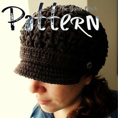PDF Crochet Pattern - Breezy Brimmed Beanie - Hat Cap Beanie Newsboy Newsgirl…