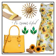 """""""Sunflower"""" by dhieta17 on Polyvore featuring Chicwish, Kenneth Cole Reaction, MICHAEL Michael Kors, Finn, Summer, dress and sunflower"""